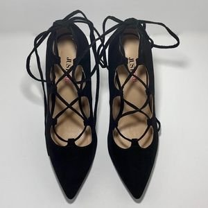 Black Pointed Toe Lace-up Heels